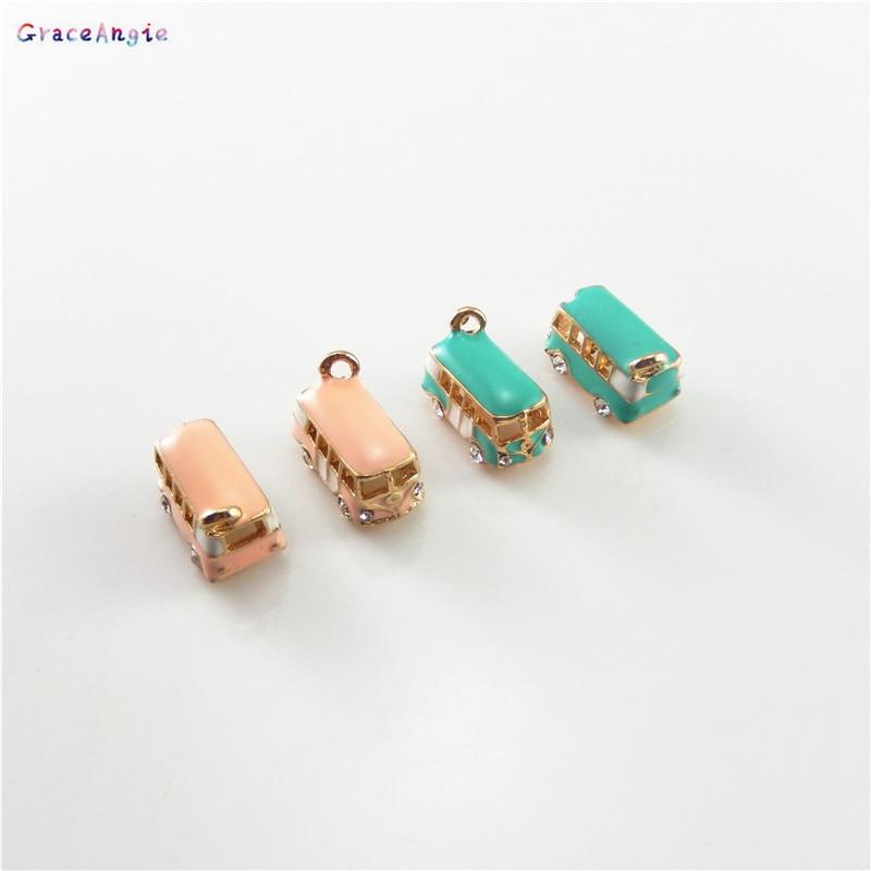 GraceAngie 6PCS Zinc Alloy Enamel DIY Charms Necklace Bracelet School Bus Style Pendant Decorate Jewelry DIY Findings Accessory
