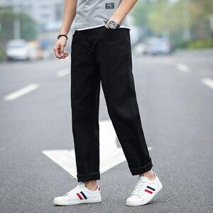 Image 4 - 2020 חדש גברים של קלאסי ישר שחור ג ינס אופנה עסקים מקרית אלסטי רופף מכנסיים זכר מותג מכנסיים בתוספת גודל 40 42 44