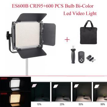 ES600B CRI95+600 PCS Bulb 36W Bi-Color Dimmable Led Video Continuous Light Aluminum Panel /w 99 Channels Wireless Remote Control