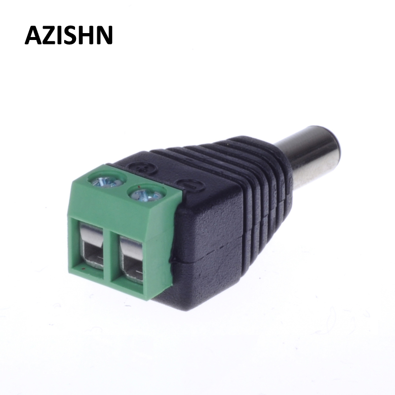AZISHN 5.5/2.1mm DC Connector CCTV UTP Cable Power Plug Adapter Cable DC/AC 2/Camera Video Balun Connector 100 pcs cctv video balun 5 5x2 1mm dc power plug terminals connector detachable