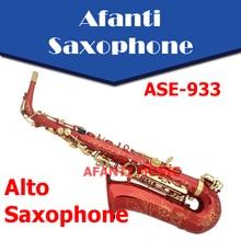 Afanti Music Eb tone Brass body Red Metallic Alto Saxophone ASE 933