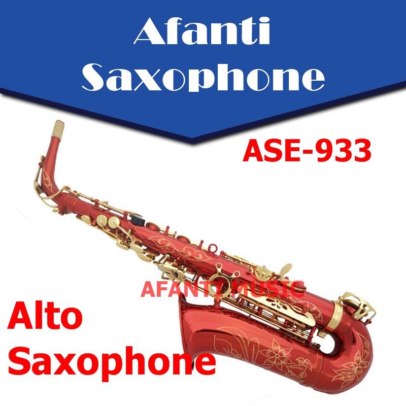 Afanti Music Eb tone Brass body Red Metallic Alto font b Saxophone b font ASE 933