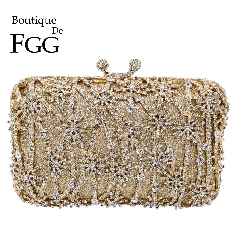 Boutique De FGG Hollow Out Flower Clutch Minaudiere Bag Women  Crystal Evening Bags Wedding Party Dinner Floral Handbags  PursesTop-Handle Bags