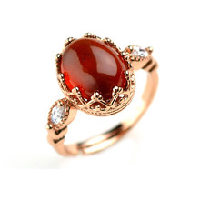 European and American jewels,925 Silver,Fashion for women Retro Sterling Silver Inlaid Garnet Ring
