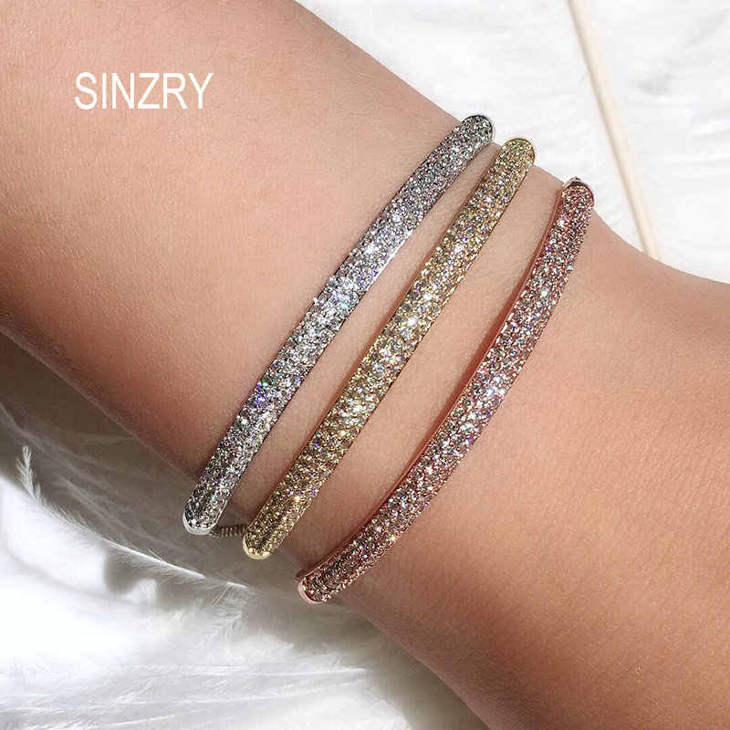 SINZRY Wholesale new Jewelry AAA Cut Cubic zircon exquisite arc charm CZ Bracelets & bangle for Women fashion bling jewelry