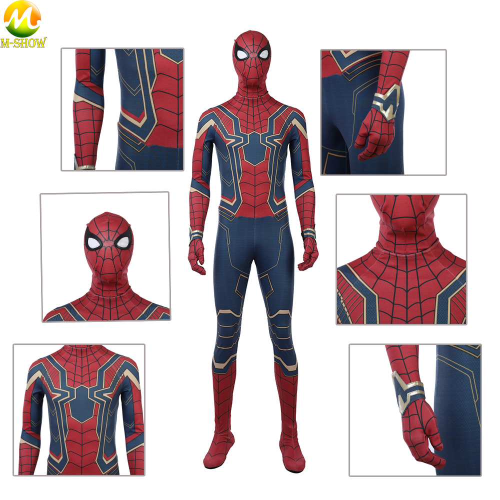 Costum Made Avengers Infinity War Costume Cosplay Spider Man Bodysuit Superhero Peter Parker Jumpsuit