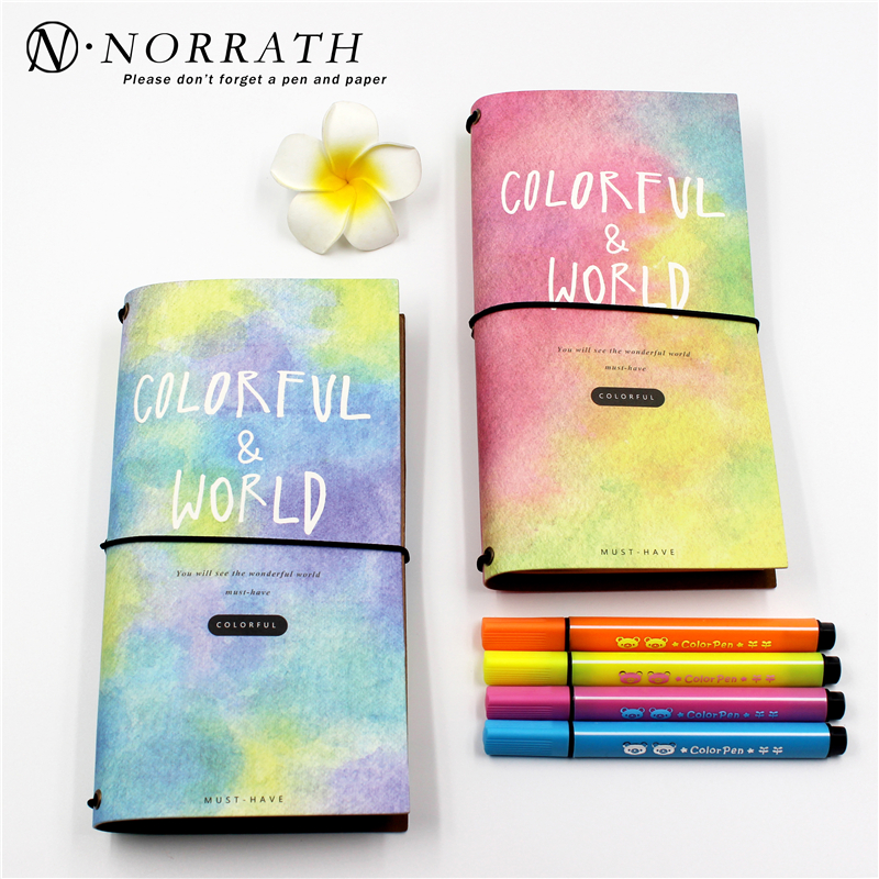 NORRATH Kawaii Stationery Cute Notebook Planner Notepad Diary Book Journal Record Office School Supplies For Kids Gifts ann notebook korea school supplies stationery cute happy graffiti leather surface solid color printing loose leaf diary notepad