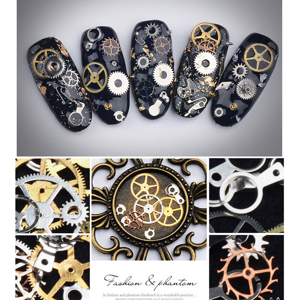 New design 1 box metal gear stud sheet mixed steampunk watch new design 1 box metal gear stud sheet mixed steampunk watch machine nail art diy gold and silver nail decoration kits in rhinestones decorations from prinsesfo Images