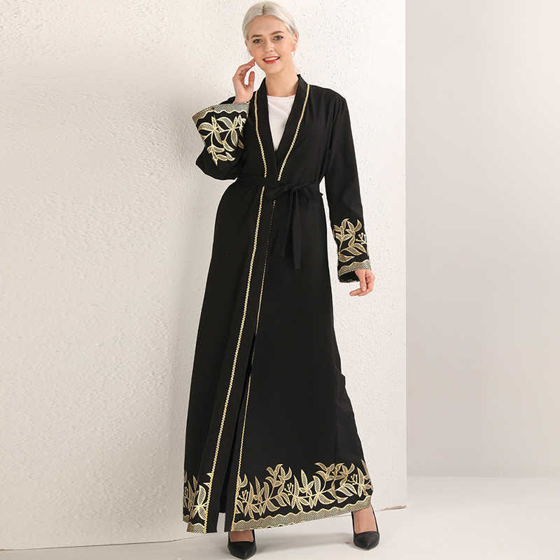 Nero Abaya Dubai Turchia Hijab Musulmano Vestito Jilbab Caftano Abaya Donne Eid Caftano Marocain Abbigliamento Islamico Veste Ramadan Elbise