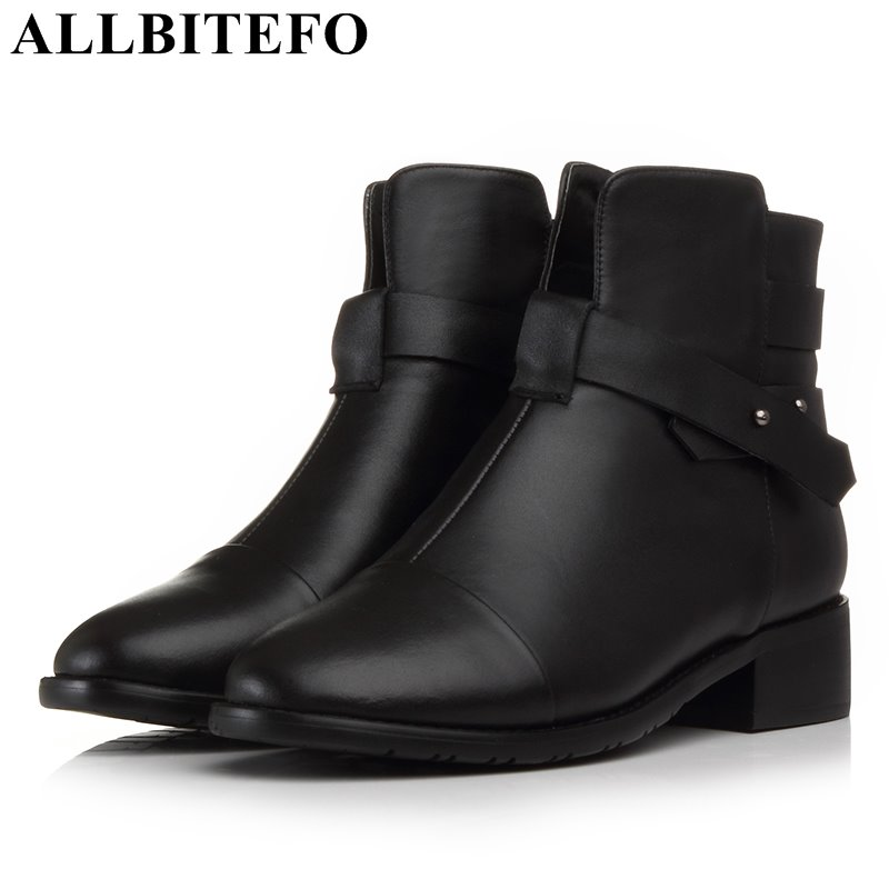 ALLBITEFO large size:33-43 genuine leather low-heeled women boots thick heel high quality ankle boots girls boots bota de neve allbitefo size 33 43 high quality genuine leather gradient color short women boots pointed toe chains thick heel martin boots