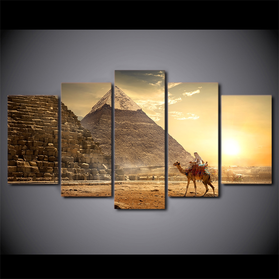 5 Piece HD Printed Ancient Egypt Pyramid Framed Wall Picture Art Poster Painting On Canvas For Living Room Decoratie Woonkamer