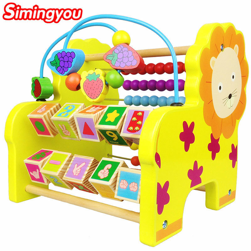 Simingyou Kids Elephant Lion Multifunctional Computing Frame Bright Colors Wooden Montessori Toys 1 pcs B40-QZM09 Drop Shipping the spice tree