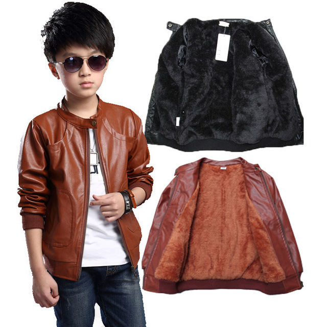 Brand Fashion Winter Child Coat Waterproof Heavyweight Baby Girls Boys Leather Jackets Children Outerwear Kids Outfits For 90 165cm