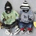 2-7Y новый 2016 осень зима мальчики мода письмо лоскутное толщиной майка 1 шт. мальчики моды дна рубашки дети свитер