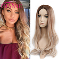 Synthetic Hair Wigs Two Color Mixed light brown and blondeHeat Resistant Synthetic Wigs Natural Looking Long Blonde Cosplay Wigs