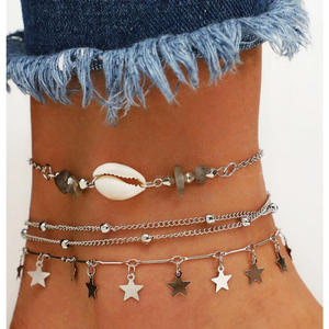 Link-Chain Anklets-Set Rope Beads Foot-Brecelets Star Handmade Bohemian Women's Leg Conch