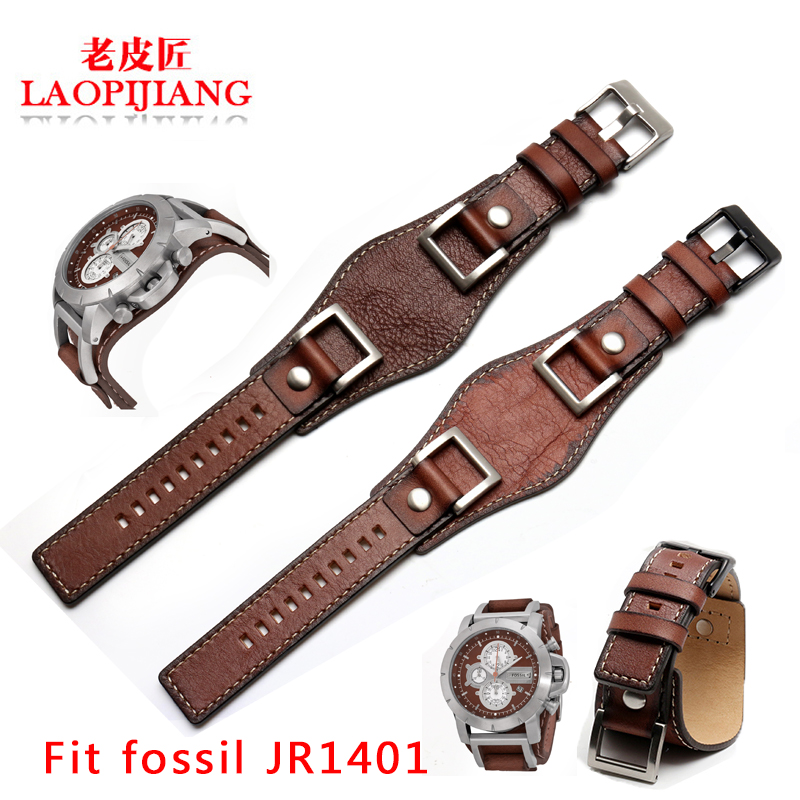 New design fit fossil JR1401 JR1156 JR1157 24mm luxurious genuine leather strap tray gato watchband for men steel buckle belt strap