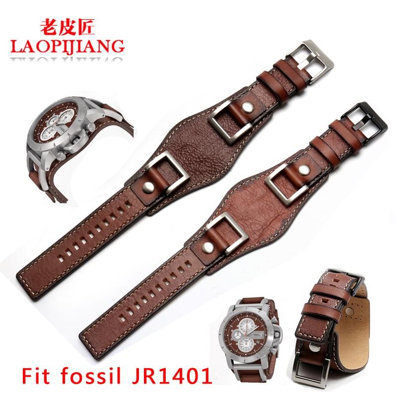 New design fit fossil JR1401 JR1156 JR1157 24mm luxurious genuine leather strap tray gato watchband for men steel buckle belt leaf design buckle belt
