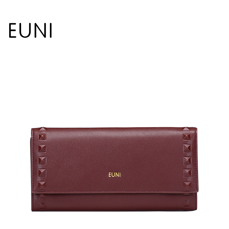 EUNI High Quality Cowhide Leather Women Wallets Brand Design 2017 Id Card Holder Hasp Long Lady Wallet Purse Clutch Bag N48
