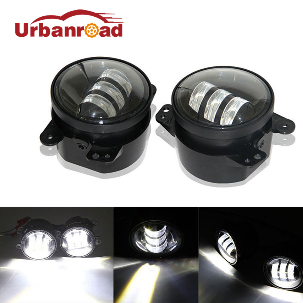 2pcs/Pair 30w led 4 inch White Round fog lights lens Projector 4'' Fog Lamp For Offroad Jeep Wrangler Dodge Chrysler 2pcs led round 4 inch fog lights 30w 4 fog lamp lens projector led driving headlamp for offroad jeep wrangler dodge chrysler