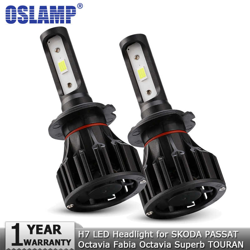Oslamp H7 LED Headlight Bulbs COB 72W 8000LM 12v 24v Car Light Led Headlamp for SKODA PASSAT Octavia Fabia Octavia Superb TOURAN