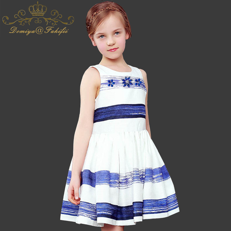 Princess Girls Dress Sleeveless 2018 New Summer Brand Children Christmas Dress Striped Printed Kids Dresses for Girls Clothing slit printed sleeveless pencil dress