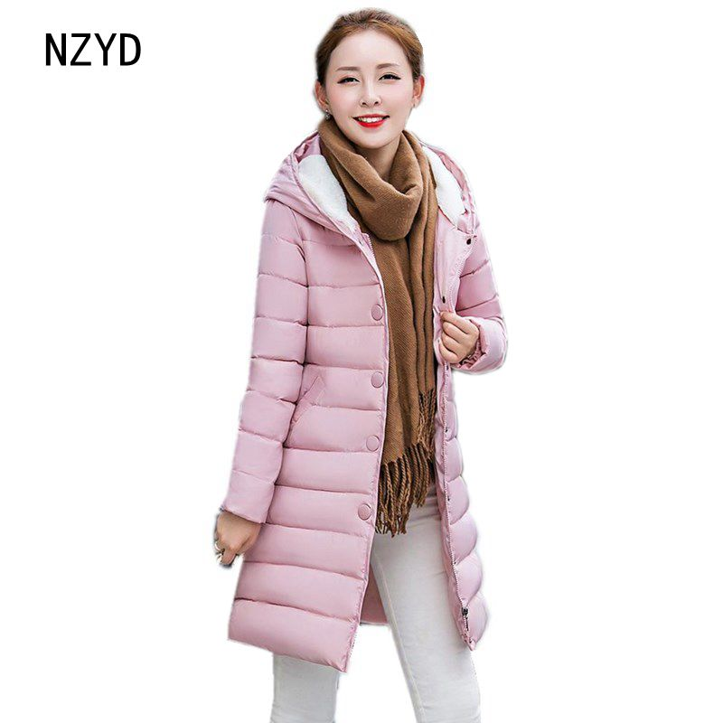 Winter Women Parkas 2017 New Hooded Warm Medium long Cotton Jacket Fashion Long sleeve Slim Big yards Female Coat LADIES324 2017 new winter fashion women parkas hooded thick super warm medium long coat casual slim big yards cotton padded jacket nz308