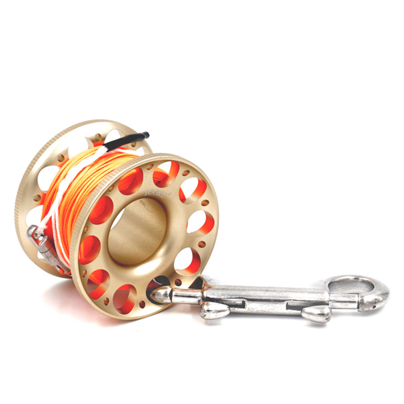 Scuba Diving Aluminium Finger Spool Reel 15/30m Line With Stainless Steel Snap Bolt Clip High Visibility Line