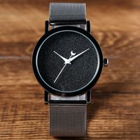 2016 New Fashion Turntable Bling Dial Watch Women Stainless Steel Mesh Band Simple Design Men S