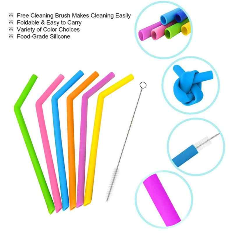 2pcs Multifunction Silicone Reusable Smoothies Drinking Straight Straws with Cleaning Brush Bar Accessories