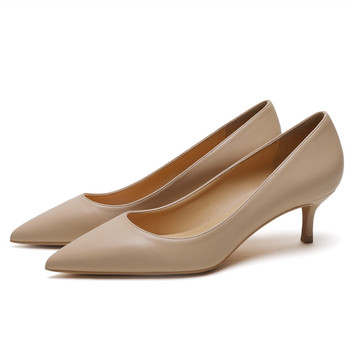 Classic Women Pumps For Woman Genuine Leather Med Thin Heel Ladies Fashion 5cm White High Heels Women's Office Shoes E0073