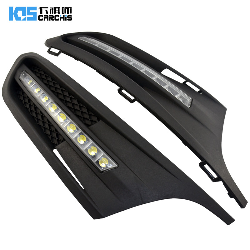 free shipping, for  2012 Volkswagen VW Jetta Sagitar LED DRL Daytime Running Light with projector lens, without fog lamp hole eouns led drl daytime running light fog lamp assembly for volkswagen vw golf7 mk7 led chips led bar version