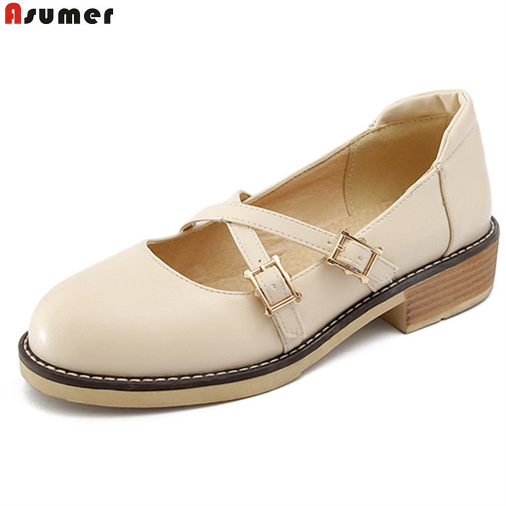 ASUMER black pink gray beige round toe 2018 spring autumn new ladies single shoes round toe buckle women med heels shoes size 43 new spring women casual platform shoes lace up round toe black pink white casual shoes women comfortble ladies shoes size 33 43