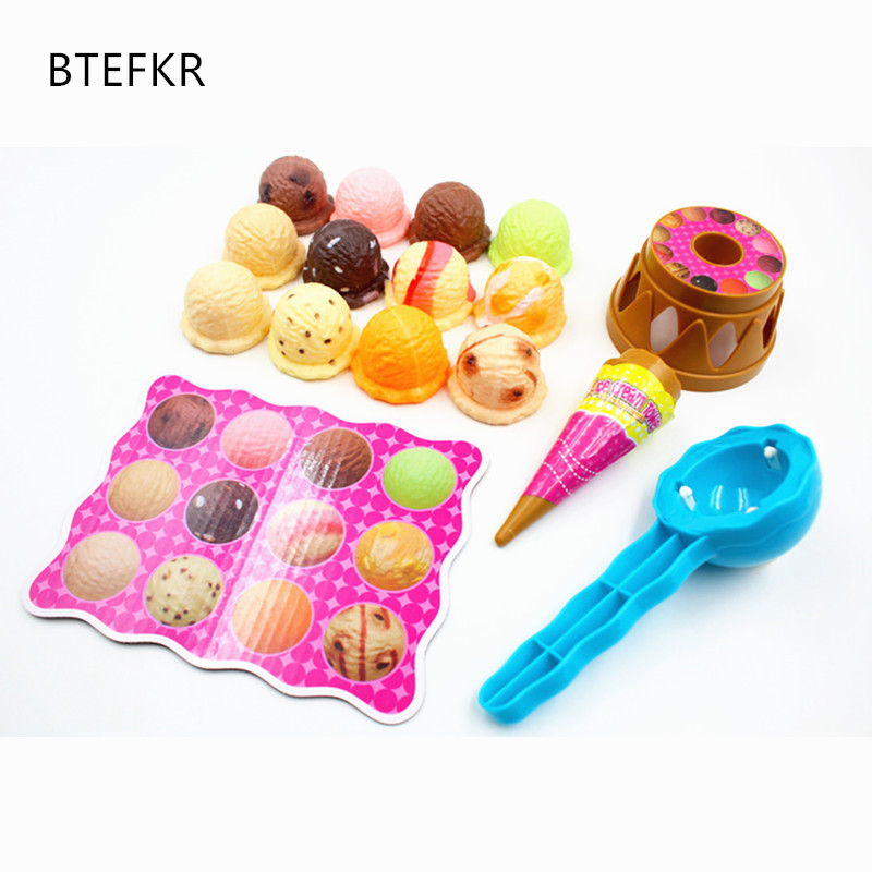 все цены на Children Simulation Food Kitchen Toy Ice Cream Stack Up Play Kids Pretend Play Toys Educational Toys For Baby Gifts