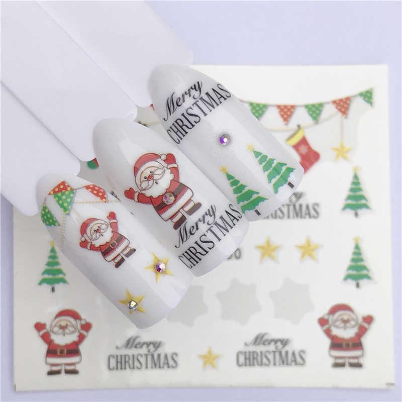 YZWLE 1 Blatt Winter Schneeflocke Voll Wraps Nail art Wasser Transfer Aufkleber Weihnachten Stil Maniküre Aufkleber DIY