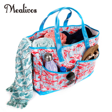 Mealivos Femeile de vară Canvas Flamingos impermeabil Beach Beach Bag Femeie Casual Tote Shopping Big Bag Floral Messenger Pungi