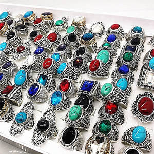 MIXMAX Anillo Jewelry-Rings Couple Nature-Stone Vintage Wholesale Tibetan Women 20pcs/Lot