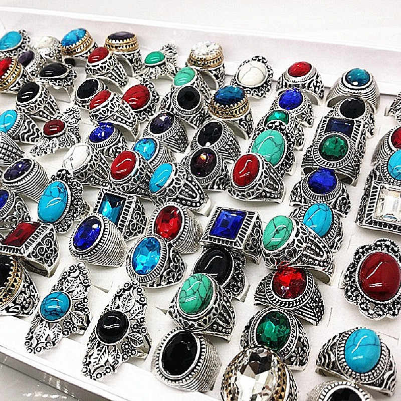 MIXMAX 20pcs/lot nature stone silver rings men vintage alloy couple anillo hombre jewelry rings for women wholesale lots bulk