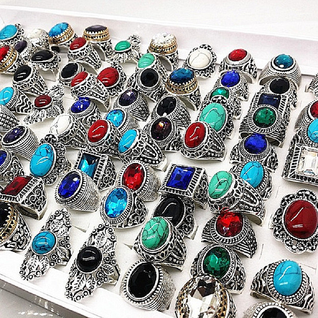 Fashion 20pcs silver stone Ring Tribal vintage retro ethnic women men unisex col
