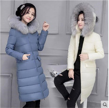 Europe 2016 Winter New Women Medium long Cotton down jacket Coat Big yards Leisure Pure color Hooded Fur collar Warm Coat G1592