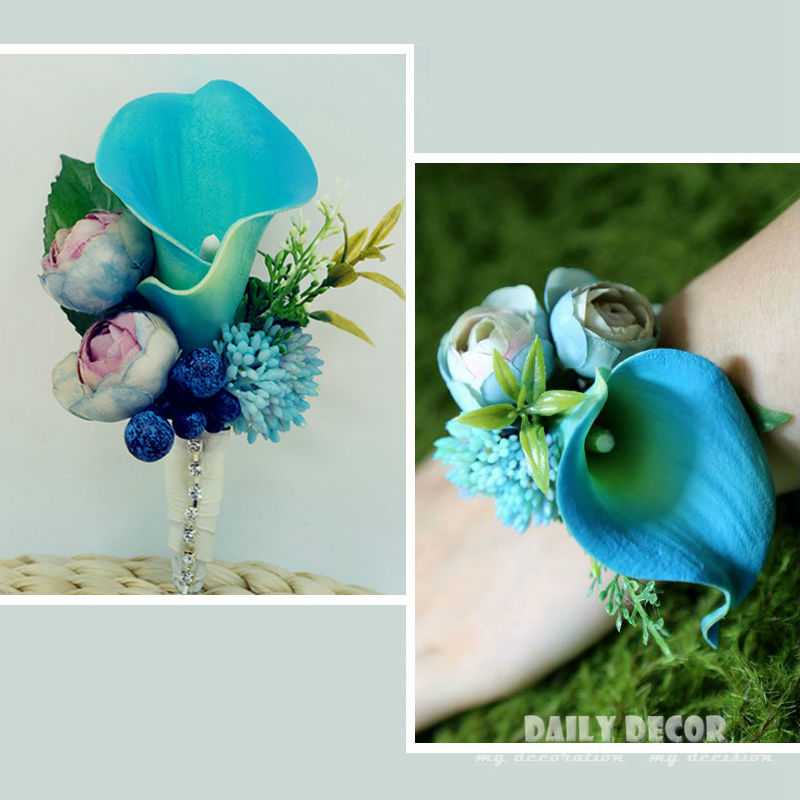 2 adet/grup Mavi Yapay Calla düğün gelin/damat düğün korsaj/yaka çiçeği gelin bilek çiçek Nedime el çiçek