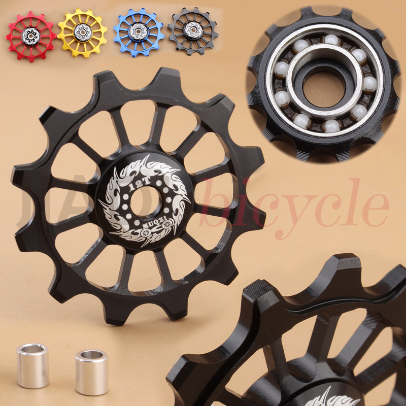 MUQZI Bike 12T Ceramics Bearing Guide Pulley Cylcing Rear Derailleur Positive And Negative Tooth Ceramic Guide Pulley Wheel