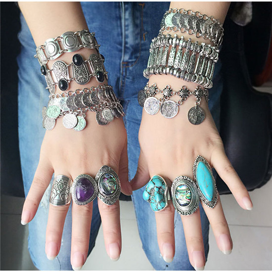 US $0 71 34% OFF|H:HYDE Vintage Beach Steam punk Ring Bracelet Set Anillos  Antique Knuckle Finger Ring Bracelet for Women Behemia Jewelry-in Jewelry