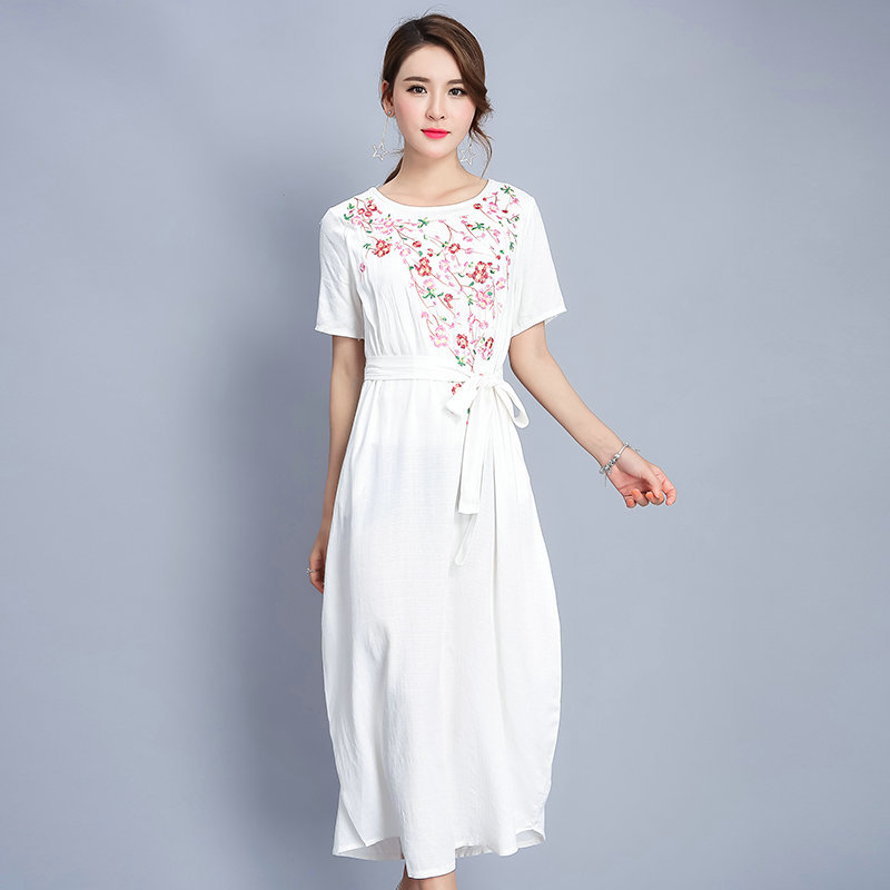 c5100cd528aca 2017 Summer Cute Women White Cotton and Linen Embroidery Floral ...