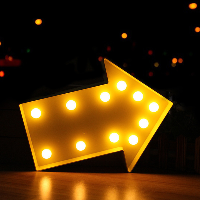 PLASTIC Arrow LED Marquee Sign LIGHT UP Vintage Marquee Night Lamp Indoor Dorm Turn Signal Light Christmas Party Wedding Decor