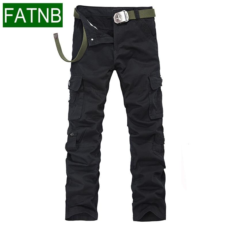 Mens Pants Cargo New 2017 Pantalon Homme Loose Pockets Design For Autumn Winter 100 Cotton Brand