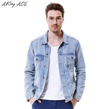 2017 AKing ACE Men's Denim Jacket Vintage Male Motorcycle Jeans Jacket Retro Men Light Blue Jackets Boyfriend M-3XL ,ZA284