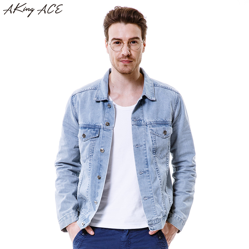 AKing ACE Fashion Men's Denim Jacket Vintage Male Motorcycle Jeans Jacket Retro Men Light Blue Jackets Boyfriend M-3XL ,ZA284