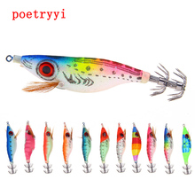 1PCS 9.2g/10cm Luminous Squid Jig Fishing Wood Shrimp Lure Cuttlefish Jigs Lures Spinnerbait with 2.5# Hook 30