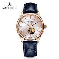 Валентных Часы Для мужчин Бизнес self ветер автоматические Наручные часы Пояса из натуральной кожи Whatch Relojes Скелет с драгоценными камнями Whatch